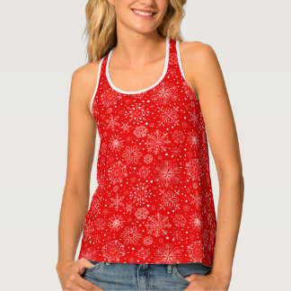 White Snowflakes on Christmas Red Singlet
