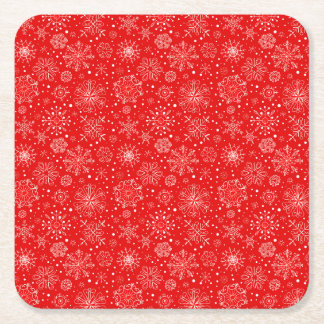 White Snowflakes on Christmas Red Square Paper Coaster
