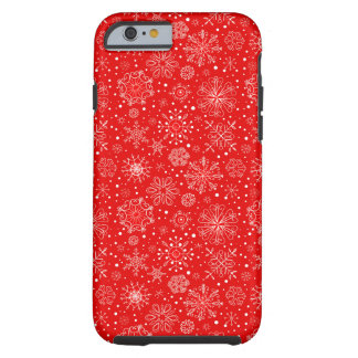 White Snowflakes on Christmas Red Tough iPhone 6 Case