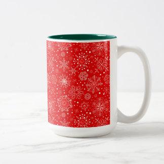 White Snowflakes on Christmas Red Two-Tone Coffee Mug