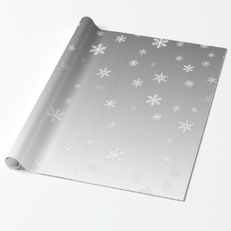 White Snowflakes on Silver Wrapping Paper
