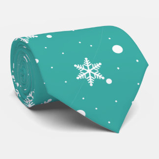 White Snowflakes on Turquoise Tie