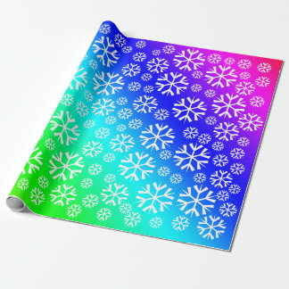 White Snowflakes Pattern on Rainbow Gradient Wrapping Paper