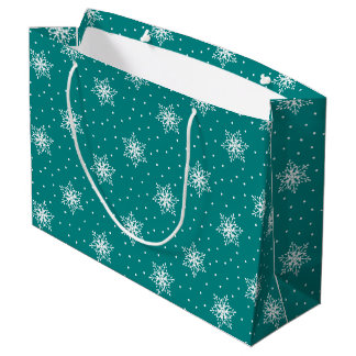 White Snowflakes, Polka Dots on Deep Teal Blue Large Gift Bag