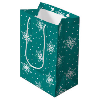 White Snowflakes, Polka Dots on Deep Teal Blue Medium Gift Bag