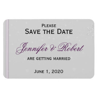 White Snowflakes Silver Wedding Save the Date Magnet