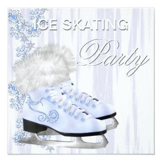 White Snowflakes Skates Ice Skating Party 13 Cm X 13 Cm Square Invitation Card