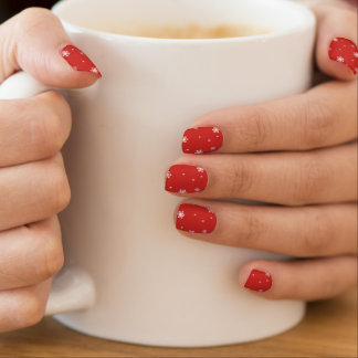 White Snowflakes, Snow, Snowing Pattern on Red Minx Nail Art
