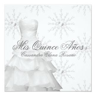 """White Snowflakes White Quinceanera 5.25"""" Square Invitation Card"""