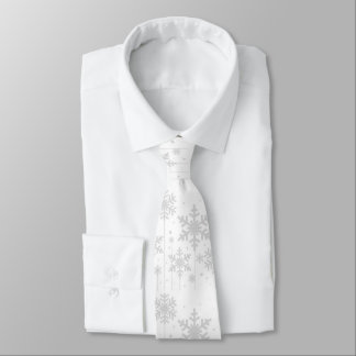 White Snowflakes Winter Wedding Neck Tie