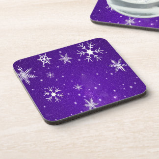 White Snowflakes with Blue-Purple Background Drink Coasters