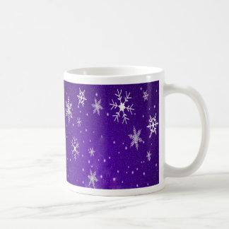 White Snowflakes with Blue-Purple Background Coffee Mug