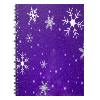 White Snowflakes with Blue-Purple Background Notebooks