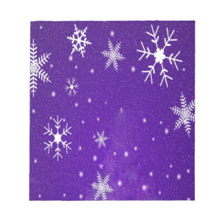 White Snowflakes with Blue-Purple Background Memo Note Pad