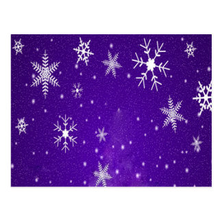 White Snowflakes with Blue-Purple Background Postcards