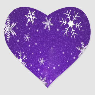 White Snowflakes with Blue-Purple Background Heart Stickers