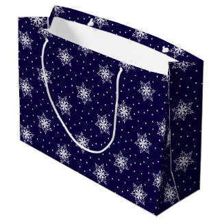 White Snowflakes with Polka Dots, Navy Blue Large Large Gift Bag
