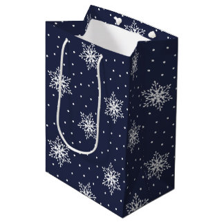 White Snowflakes with Polka Dots on Navy Blue Medium Gift Bag