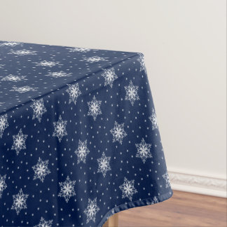 White Snowflakes with Polka Dots Tablecloth