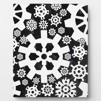 White Snowy Gears Display Plaques