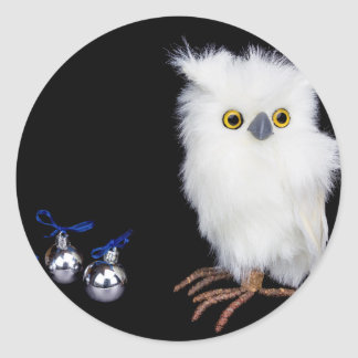 White snowy owl figurine with silver christmas classic round sticker