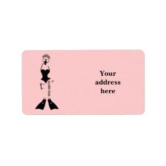 White Space Scuba Diva Address Label