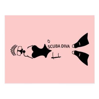 White Space Scuba Diva Postcard