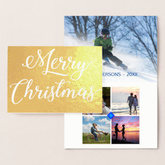 White Speckle Embossed Christmas 5 Photo Collage Foil Card