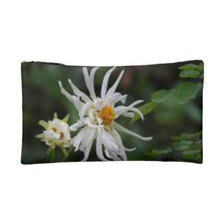 white spider flower cosmetic bag