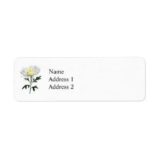 White Spider Mum Return Address Label