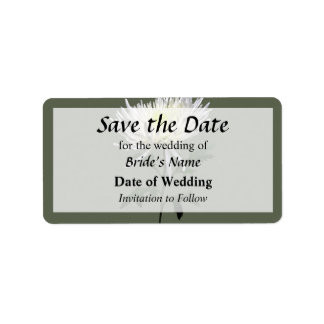 White Spider Mum Save the Date Label