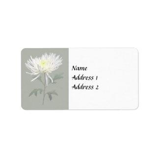 White Spider Mum Wedding Products Label
