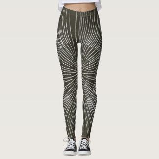 White spokes circular pattern on black, leggings