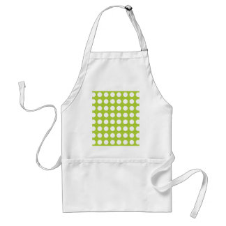 White Spots and Dots on Lime Green Aprons