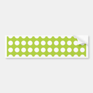 White Spots and Dots on Lime Green Bumper Sticker