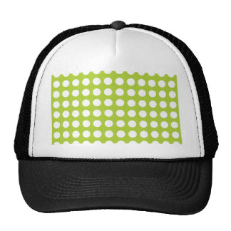 White Spots and Dots on Lime Green Cap