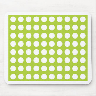 White Spots and Dots on Lime Green Mouse Mat