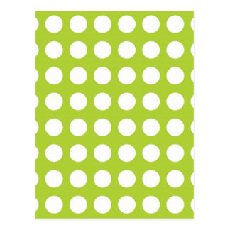 White Spots and Dots on Lime Green Postcard