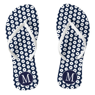 White Spots Pattern and Navy Blue With Monogram Thongs