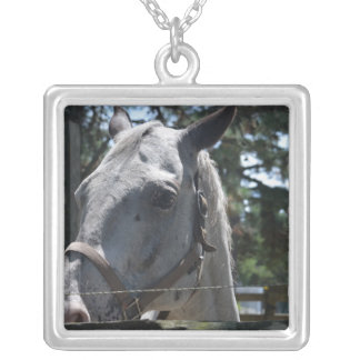 white spotted horse personalized necklace