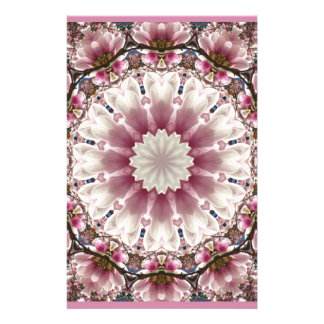 White spring blossoms 2.0, mandala style stationery