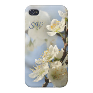 White spring blossoms case for the iPhone 4