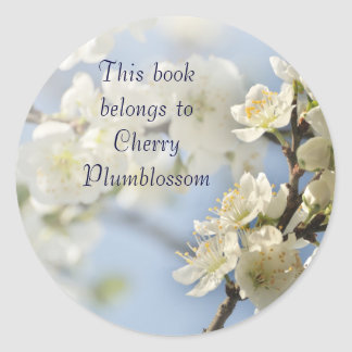 White spring blossoms round sticker