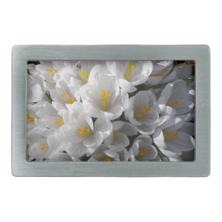 WHITE SPRING CROCUSES Rectangular Belt Buckle