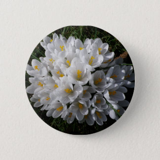 WHITE SPRING CROCUSES Round Badge