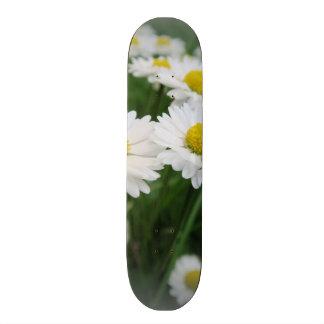 white spring flower in green grass 21.6 cm skateboard deck