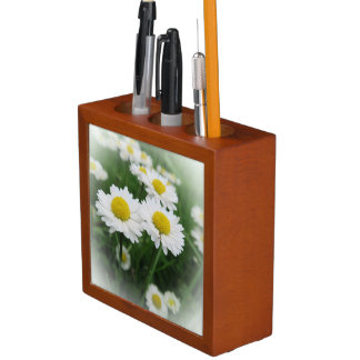 white spring flower in green grass desk organiser