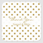White Square Custom Gold Polka Dotted Thank You Square Stickers