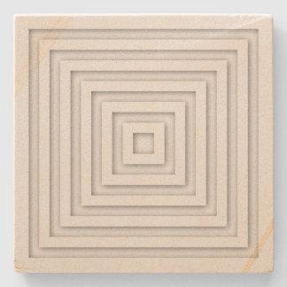 White Square Geometric Stone Coaster