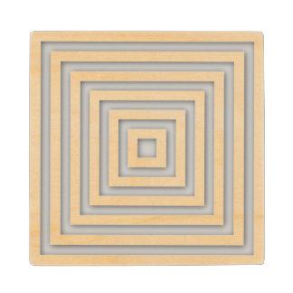 White Square Geometric Wood Coaster